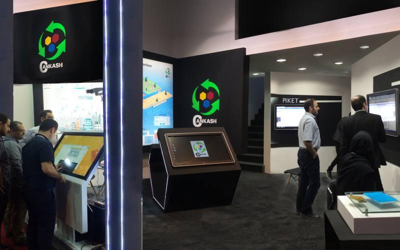 اجاره استندهای تاچ و کامپیوترهای دیواری نیوتک در تلکام